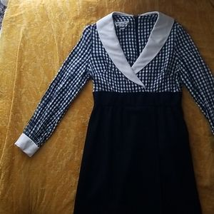 1960's Vintage Mad Men Checkered Collared Dress